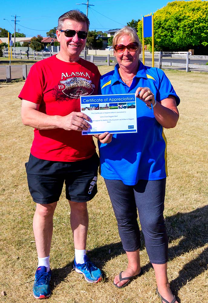 President Matt and Lion Karen with a Melton Shire Certificate of Appreciation